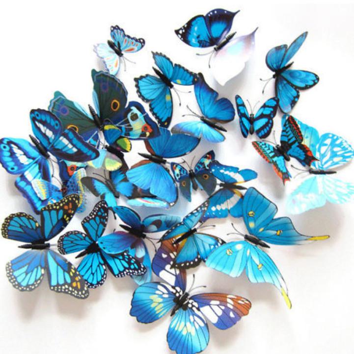 Dekorace na zeď motýli modrá
