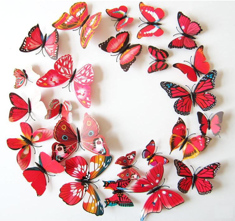 Dekorace na zeď motýli červení