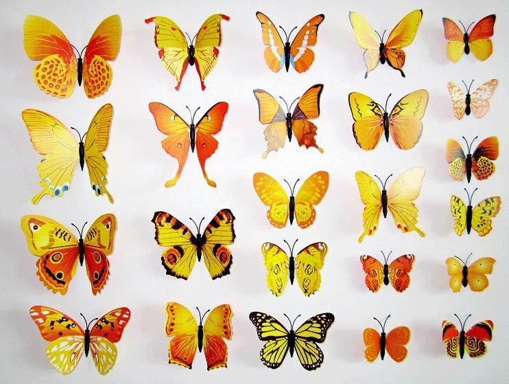 Dekorace na zeď motýli žlutí