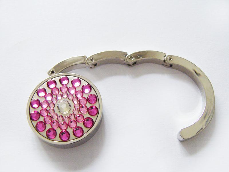 Háček na kabelku s krystaly Swarovski Pink