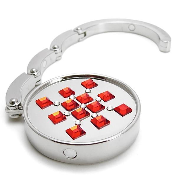 Háček na kabelku s kameny Swarovski SQUARES RED 787113
