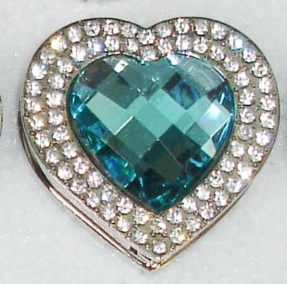 Háček na kabelku Luxury tyrkysové srdce