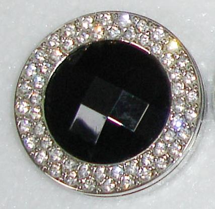 Háček na kabelku Luxury černý s krystaly