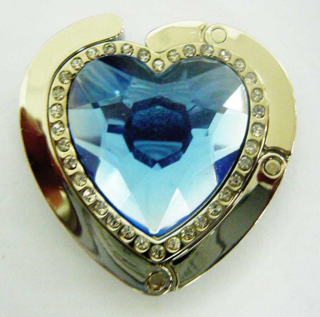 Háček na kabelku modré srdce