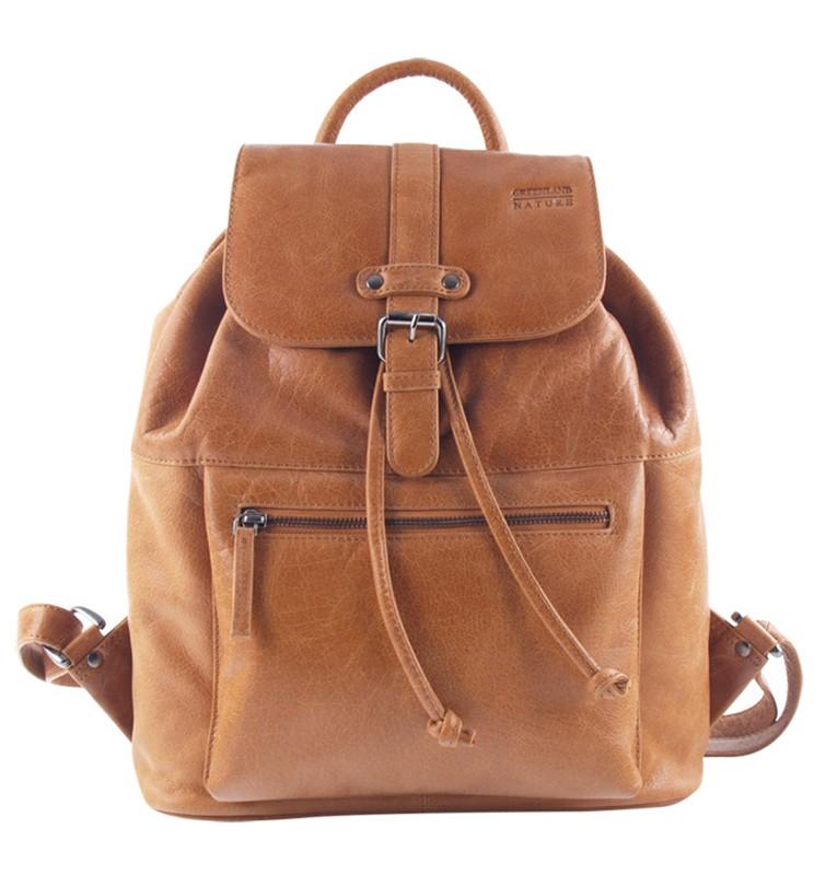 Kožený batoh s klopnou GreenLand 1312 sv.hnědý