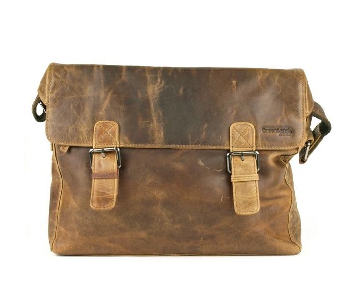 Kožená taška přes rameno GreenLand 125, hnědá