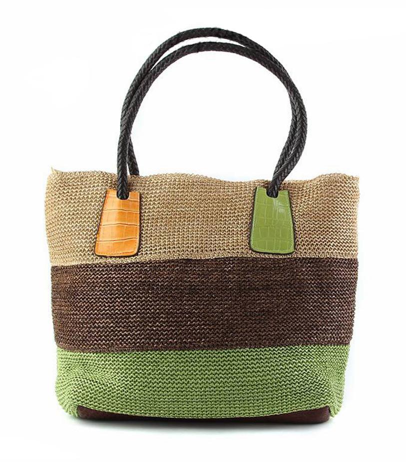 Plážová taška Miranda hnědo-zelená