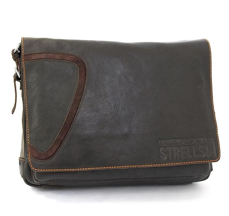 Hnědá kožená taška přes rameno Strellson 2-11-01065