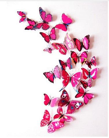 Dekorace na zeď motýli červeno-růžová