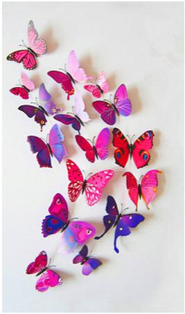 Dekorace na zeď motýli fialovo-červení