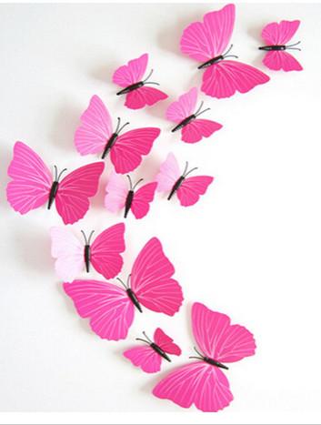 Dekorace na zeď motýli růžovo-červení