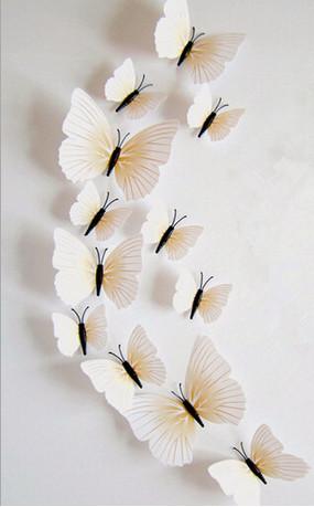 Dekorace na zeď motýli bílo-žlutí