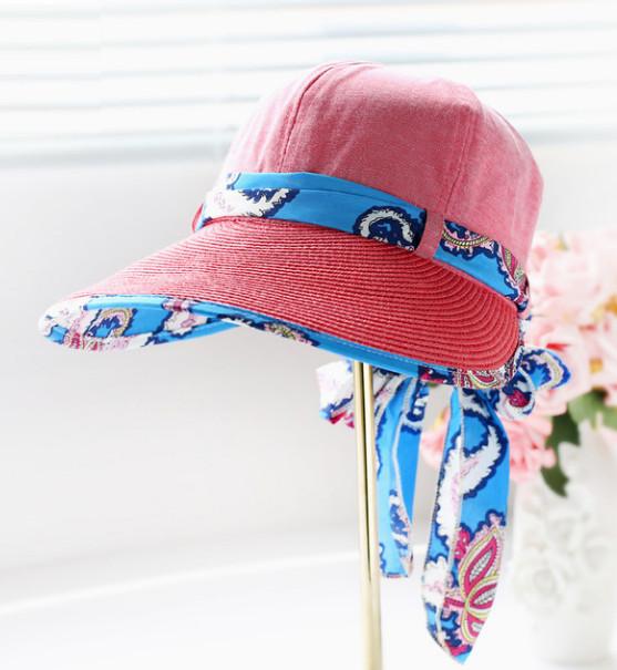 Letní klobouk Miranda se stuhou červený