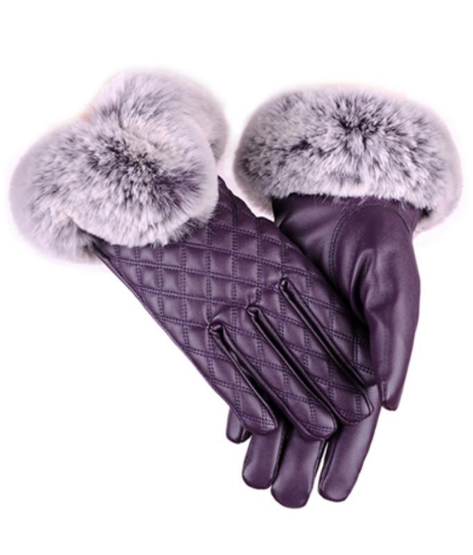 Rukavice s kožíškem Miranda Purple