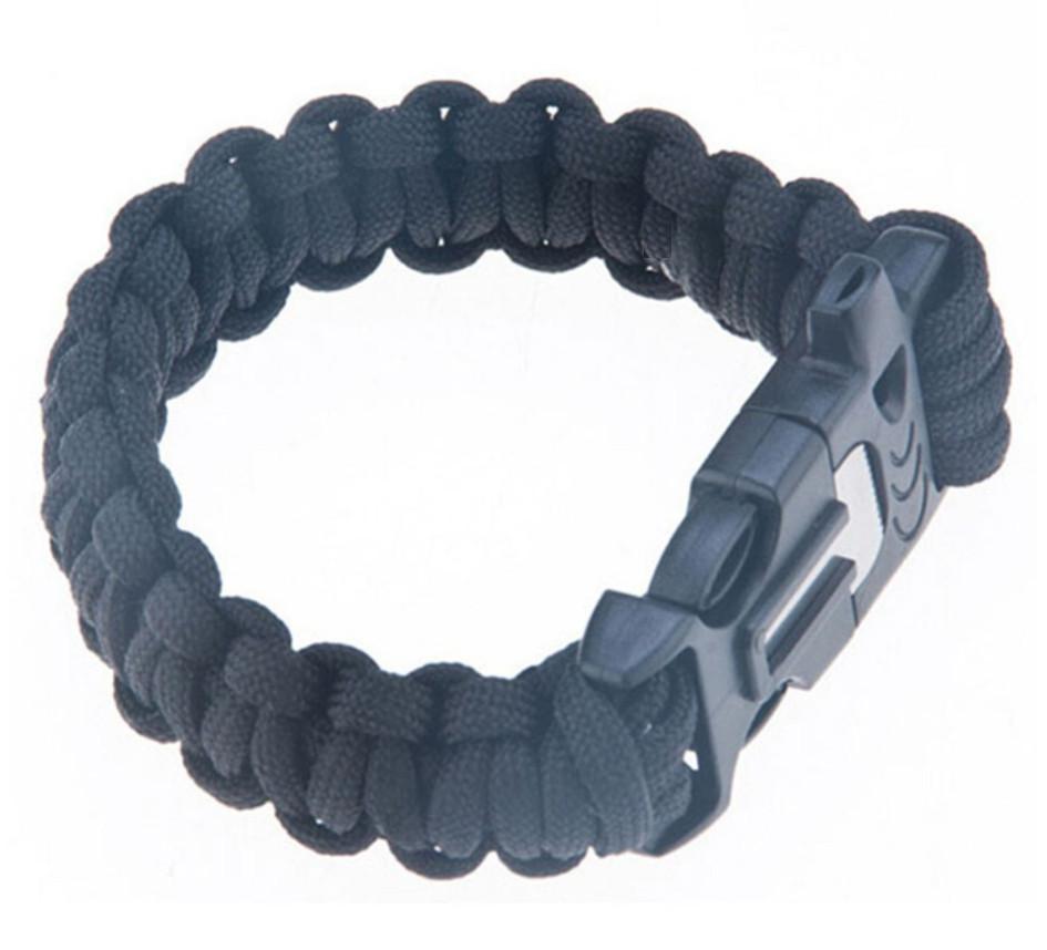 Survival náramek -pletený černý F900