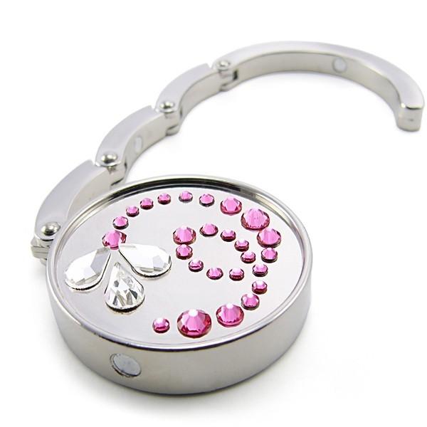 Háček na kabelku s kameny Swarovski Flower II Pink 787101