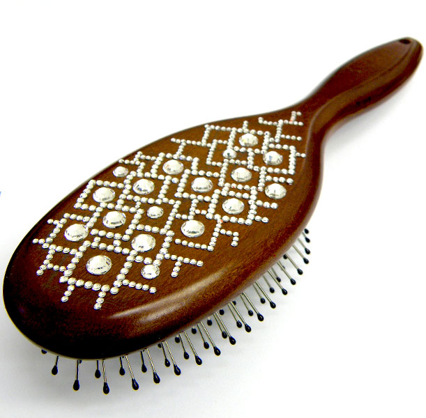 """Kartáč na vlasy Swarovski - Wooden """"Crystal Maze"""""""