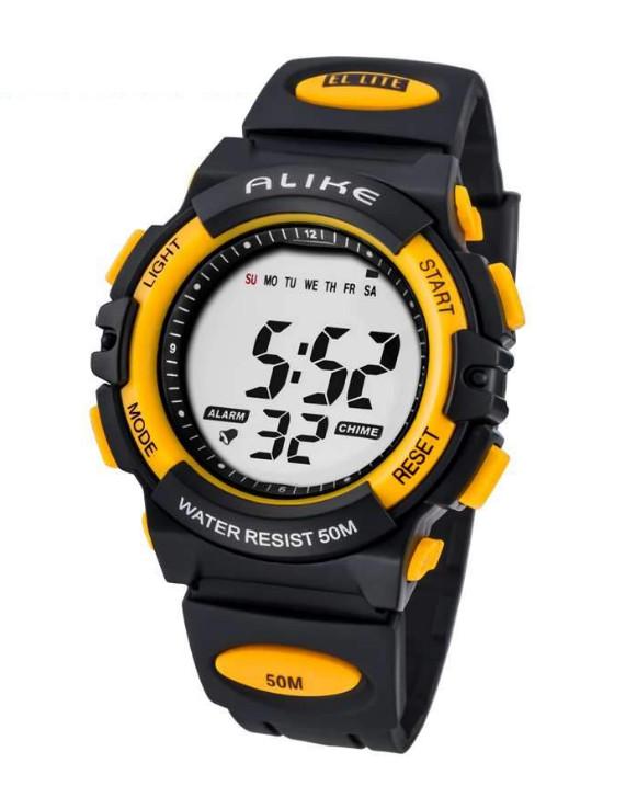 Digitální hodinky Alike černo-žluté