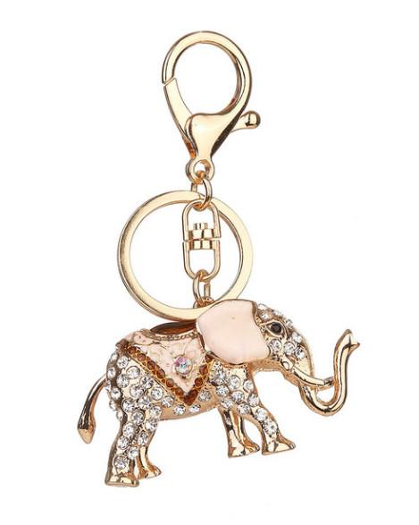 Přívěsek na klíče a kabelku Slon s krystaly růžový