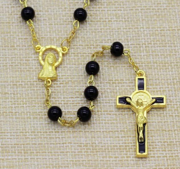 Růženec s černými perlami St. Benedict