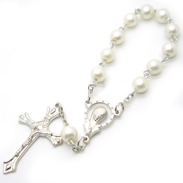 Perlový náramek růženec bílý