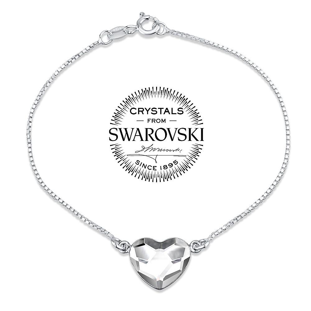 SILVEGO stříbrný náramek se Swarovski® Crystals srdce čiré - VSW061B