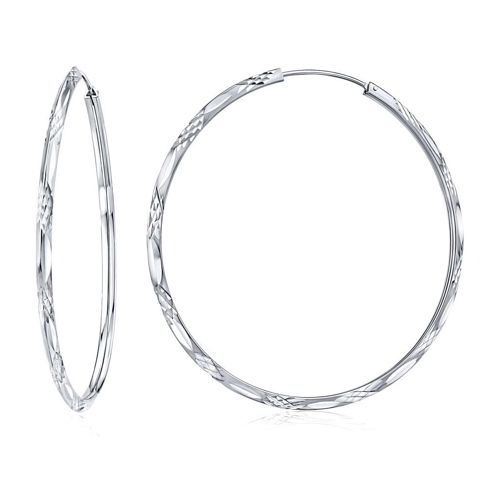 Stříbrné ryté náušnice kruhy 55 mm - SHZE029