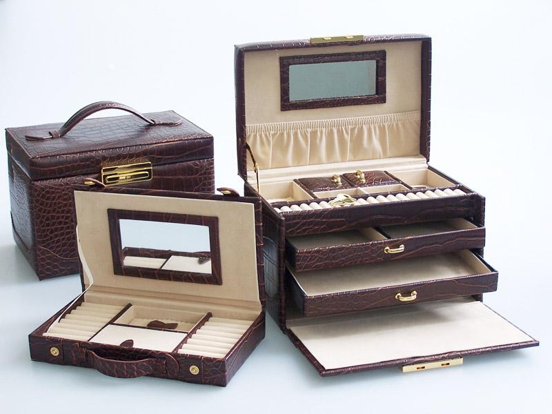 Šperkovnice Gold Pack KL46 tmavě hnědá croco