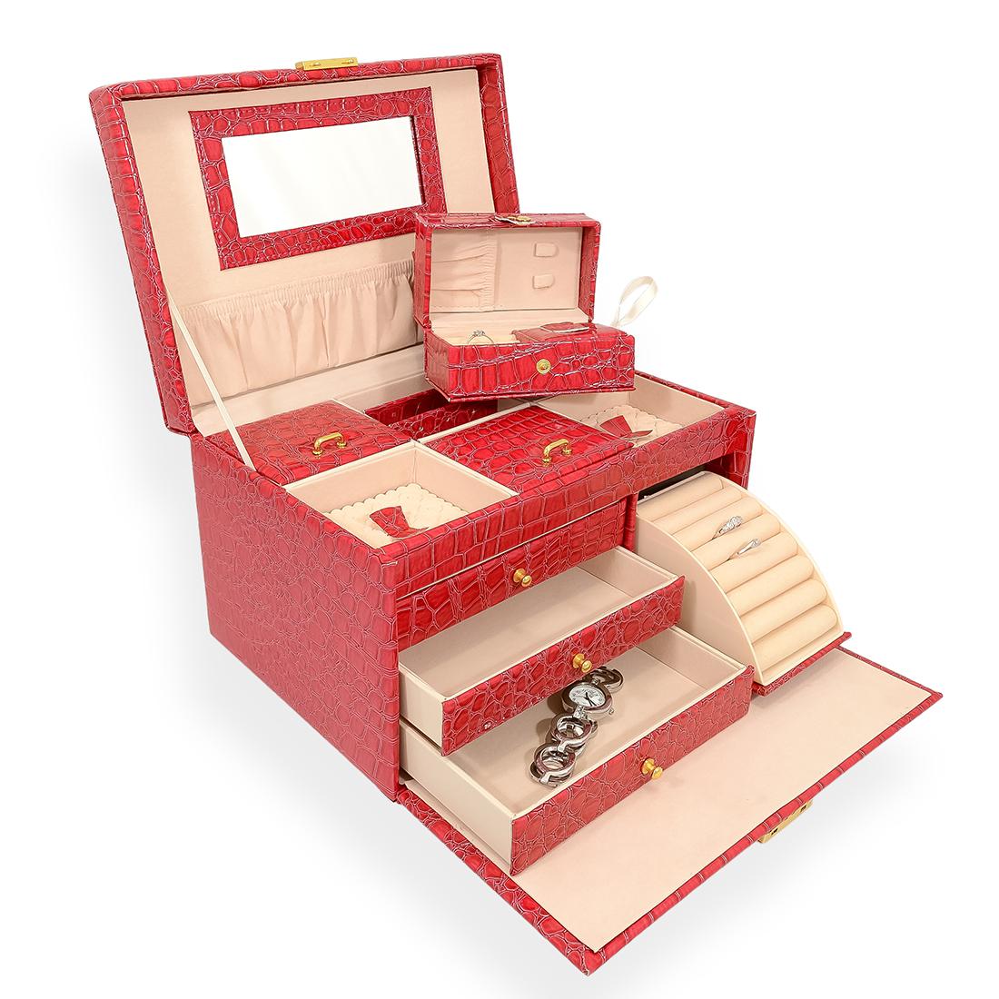 Šperkovnice JKBox SP951-A6 tmavě růžová