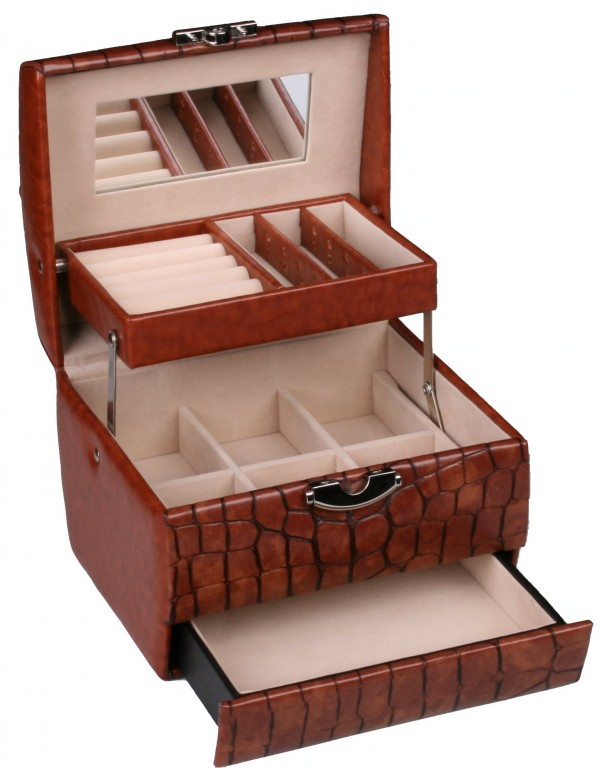 Šperkovnice Gold Pack CROCO KL18 Brown