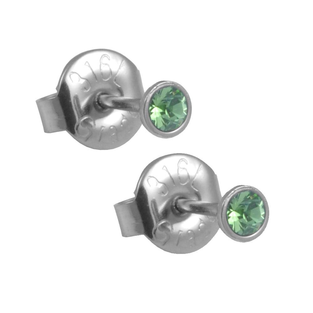 Náušnice s krystaly Swarovski ESSW09-PERIDOT