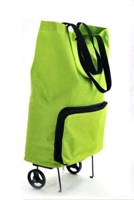 61bbf83db0 Skládací nákupní taška na kolečkách zelená